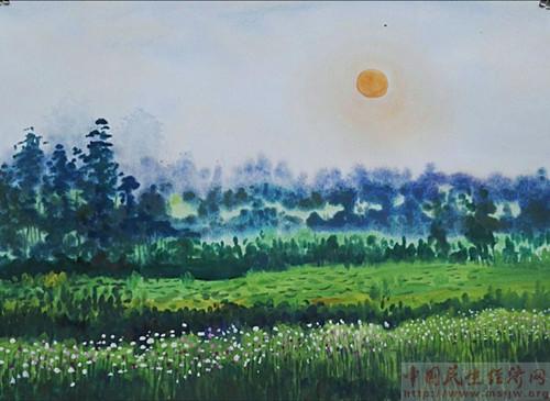 十陵青龙湖湿地公园是成都的绿肺,水清,树绿,天蓝.到处都入画.水粉.